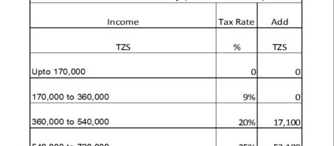 Income Tax rates for Tanzania 2016-2017